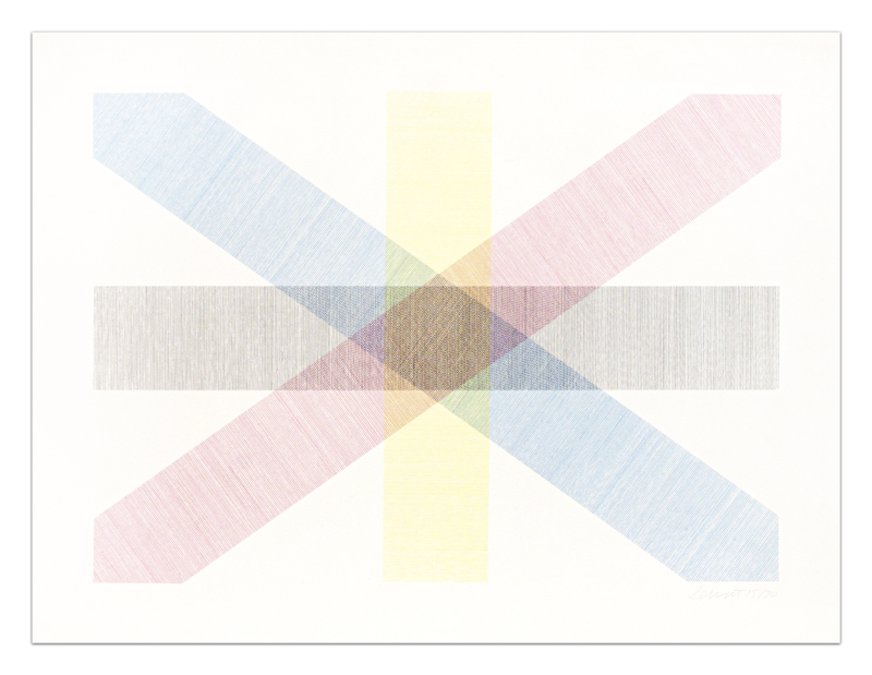 Bands of Lines in Four Directions in Four Colors