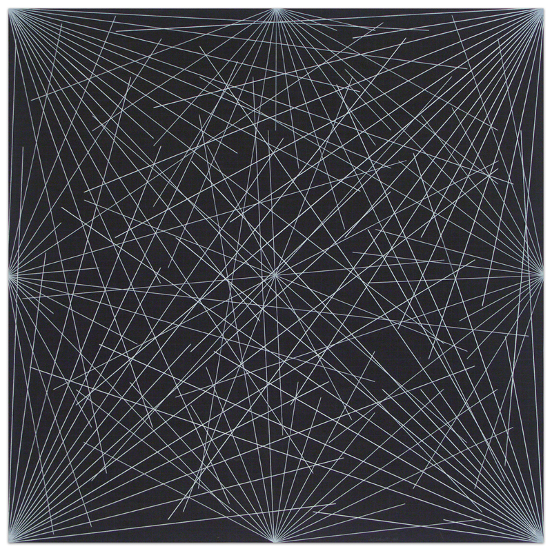 Lines from Corners, Sides and the Center, to Points on a Grid (Black)