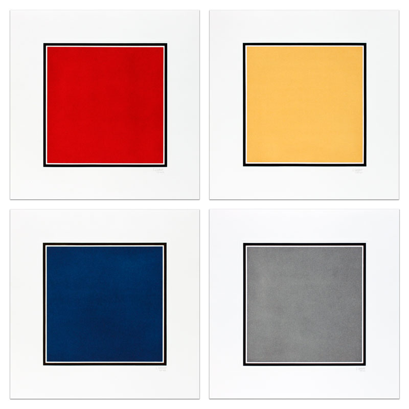 Red, Yellow, Blue, and Gray Squares Bordered by a Black Band