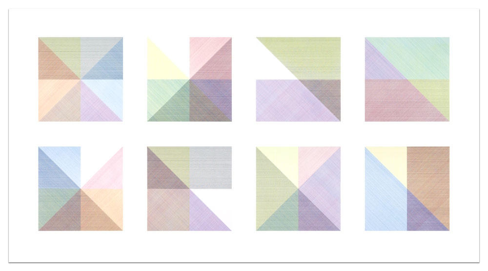 Eight Squares With a Different Color in Each Half Square (Divided Vertically and Horizontally) Composite