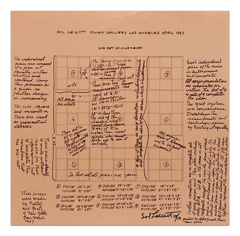Serial Project No. 1 (ABCD), Announcement for Sol LeWitt Exhibit, Dwan Gallery, Los Angeles, April 1967