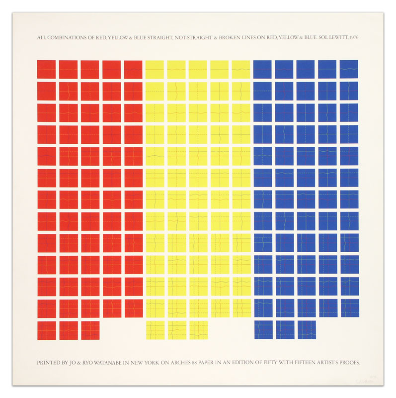 All Combinations of Red, Yellow & Blue Straight, Not-Straight & Broken Lines on Red, Yellow and Blue