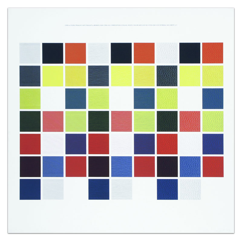 Lines & Color. Straight, Not-Straight & Broken Lines Using All Combinations of Black, White, Yellow, Red and Blue for Lines and Intervals