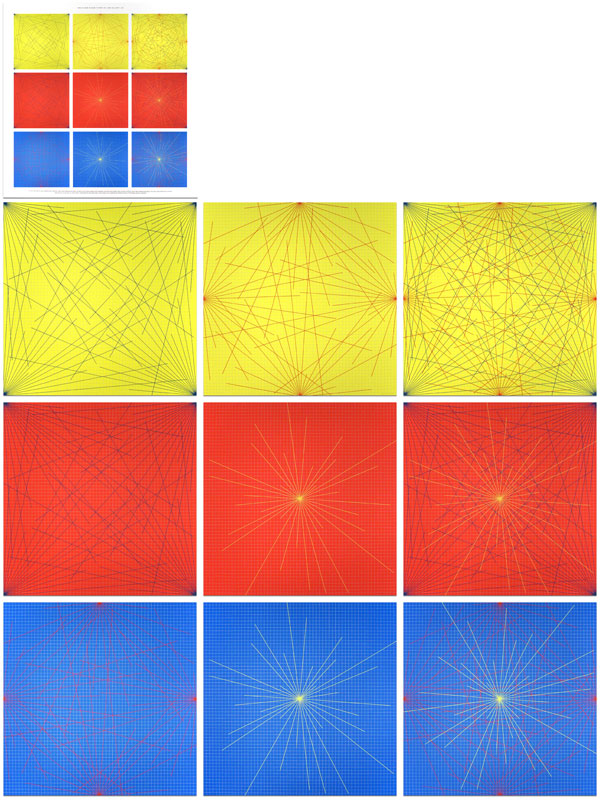 Lines In Color on Color From Corners Sides and Centers to Specific Points on a Grid