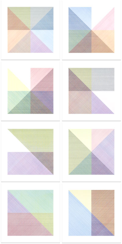 Eight Squares with a Different Color in Each Half Square (Divided Horizontally and Vertically)