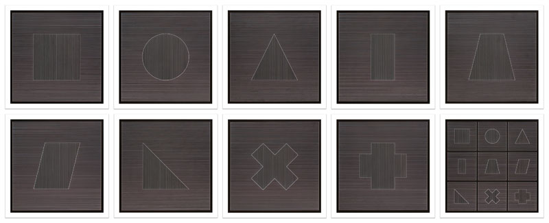 Nine Geometric Figures (White Lines on Black)