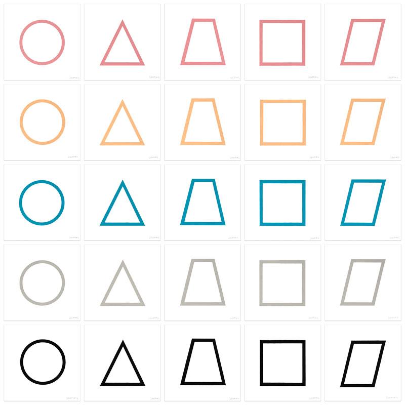Five Geometric Figures in Five Colors