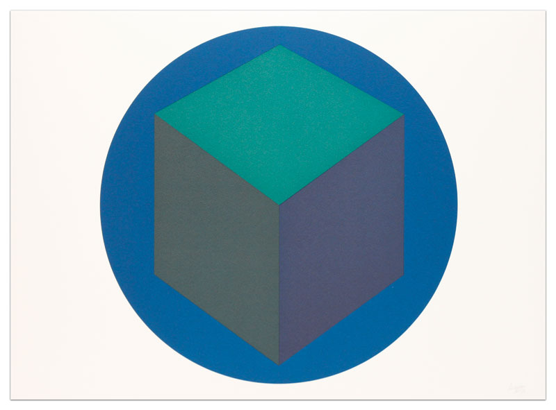 Centered Cube Within a Blue Circle