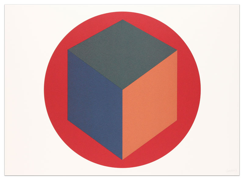Centered Cube Within a Red Circle