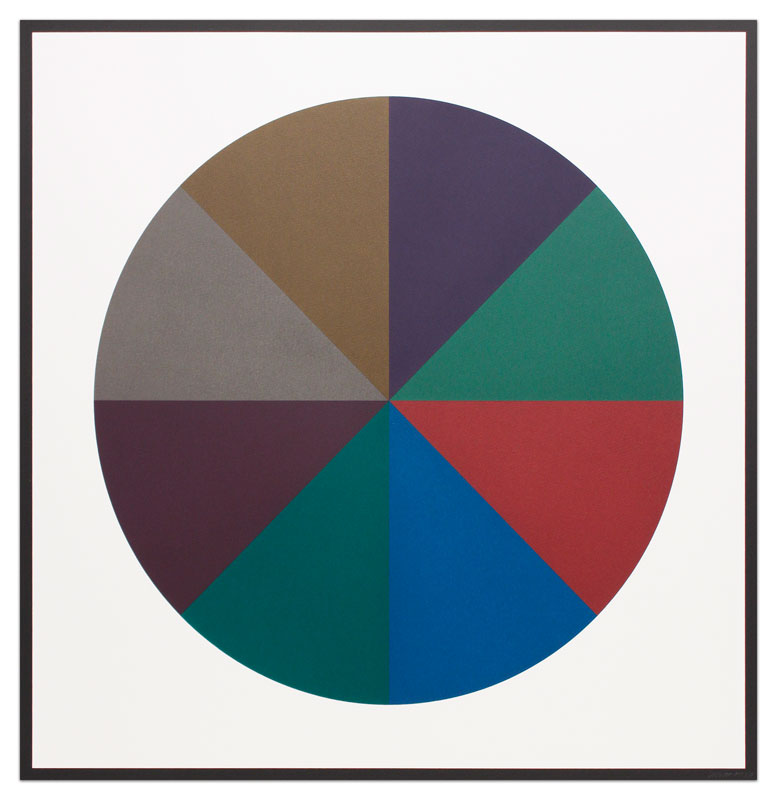 Circle Divided into Eight Equal Parts with Colors Superimposed in Each Part