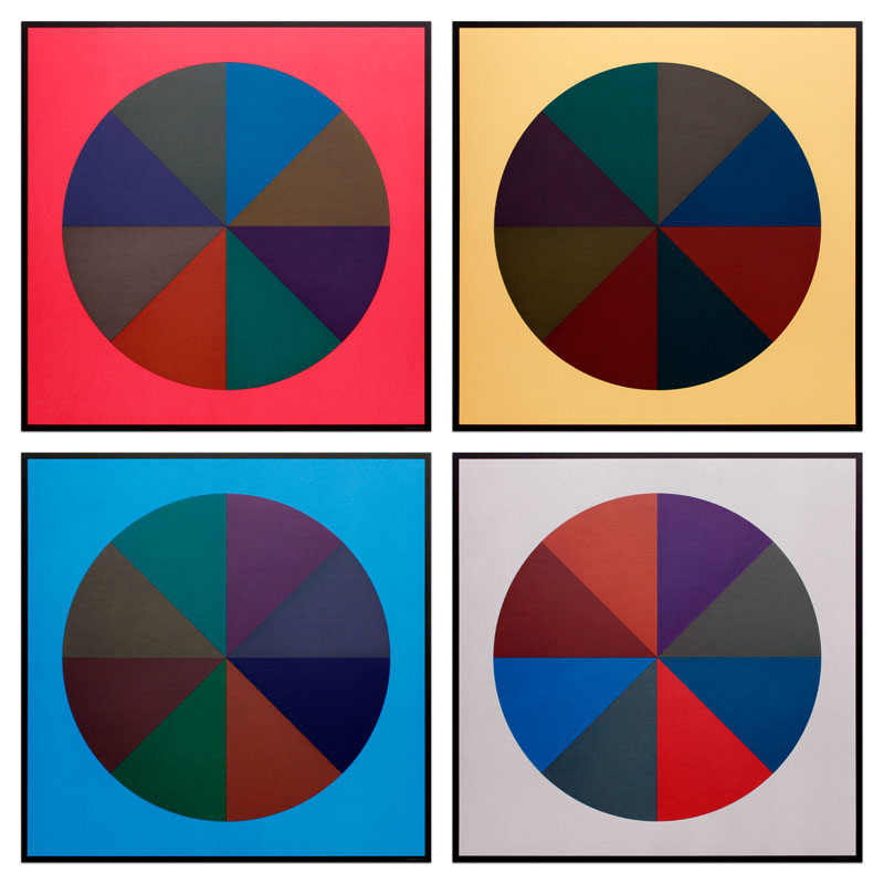 Circles Divided into Eight Equal Parts with Colors Superimposed in Each Part